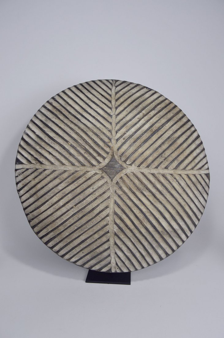 African Art Decorative Shield with linear designs - 3