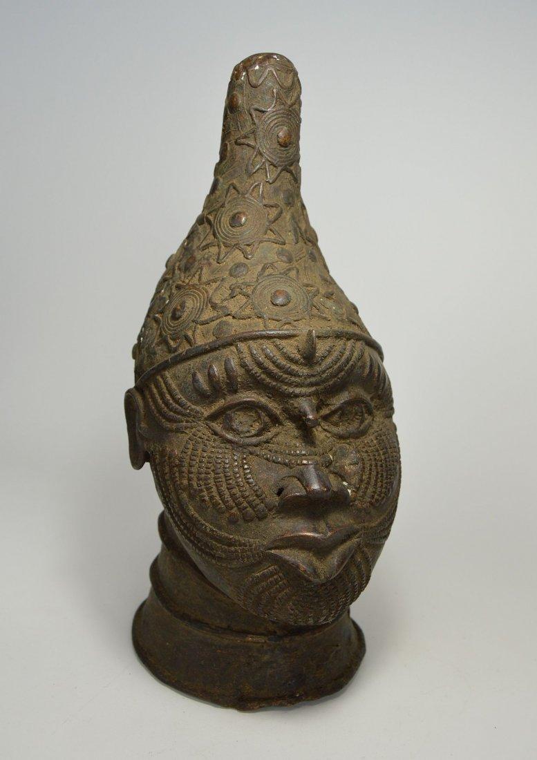 A Fine Benin Bronze Queen Mother Bust, African Art - 6