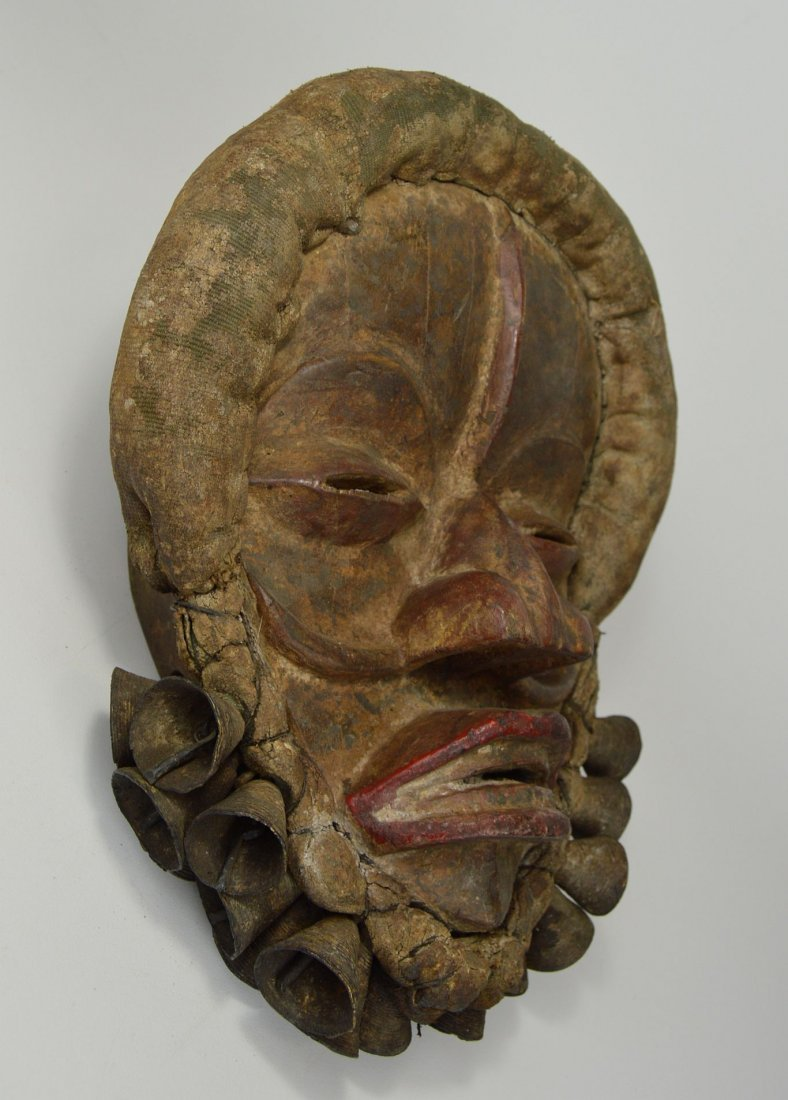 A Dan African mask adorned with Bronze Bells - 5