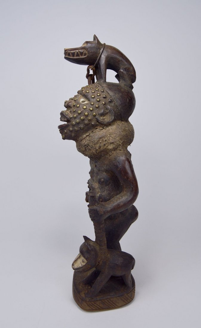 Fantastic Kongo Magic Fetish with 2 Dogs African Art
