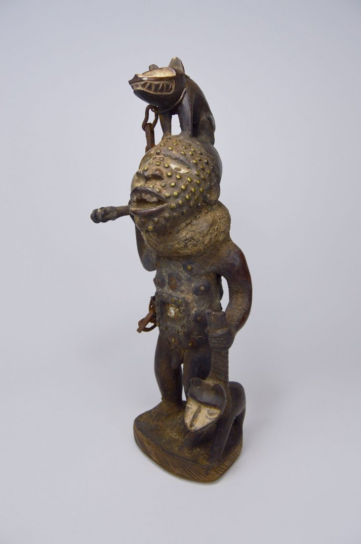 Fantastic Kongo Magic Fetish with 2 Dogs African Art - 2