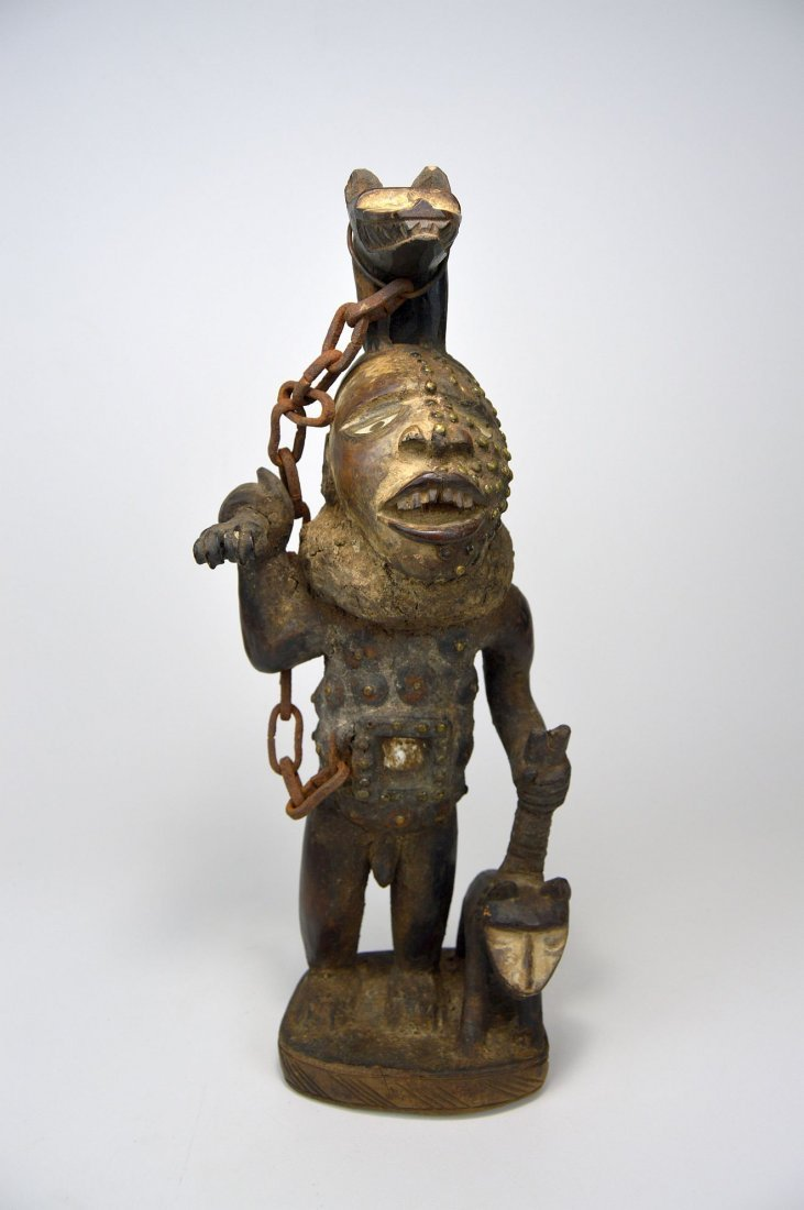 Fantastic Kongo Magic Fetish with 2 Dogs African Art - 3