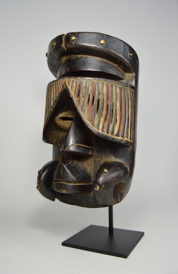 """Fantastic Guere African mask with carved """"Curtain"""" Eyes"""
