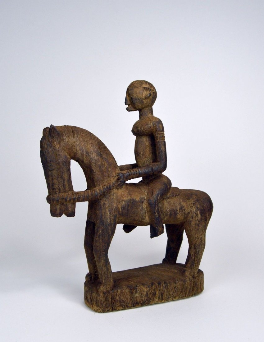 Dogon Equestrian Sculpture Horse & Rider African Art - 2