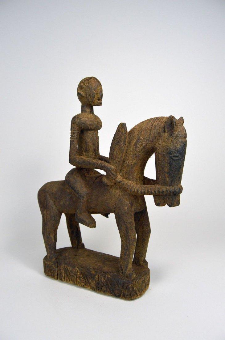Dogon Equestrian Sculpture Horse & Rider African Art - 3