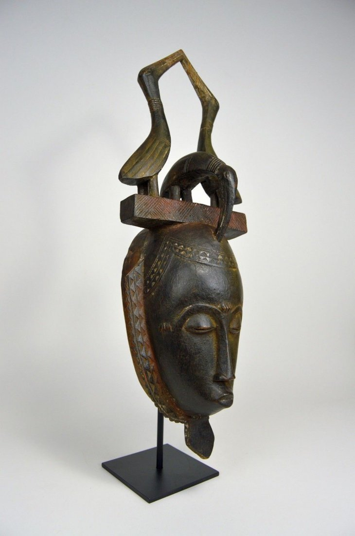Lovely Baule African mask with Avian finial African Art