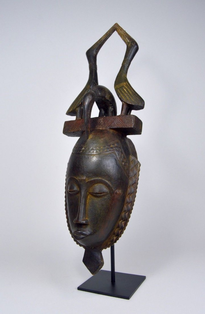 Lovely Baule African mask with Avian finial African Art - 2