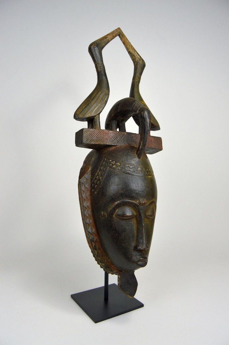 Lovely Baule African mask with Avian finial African Art - 3