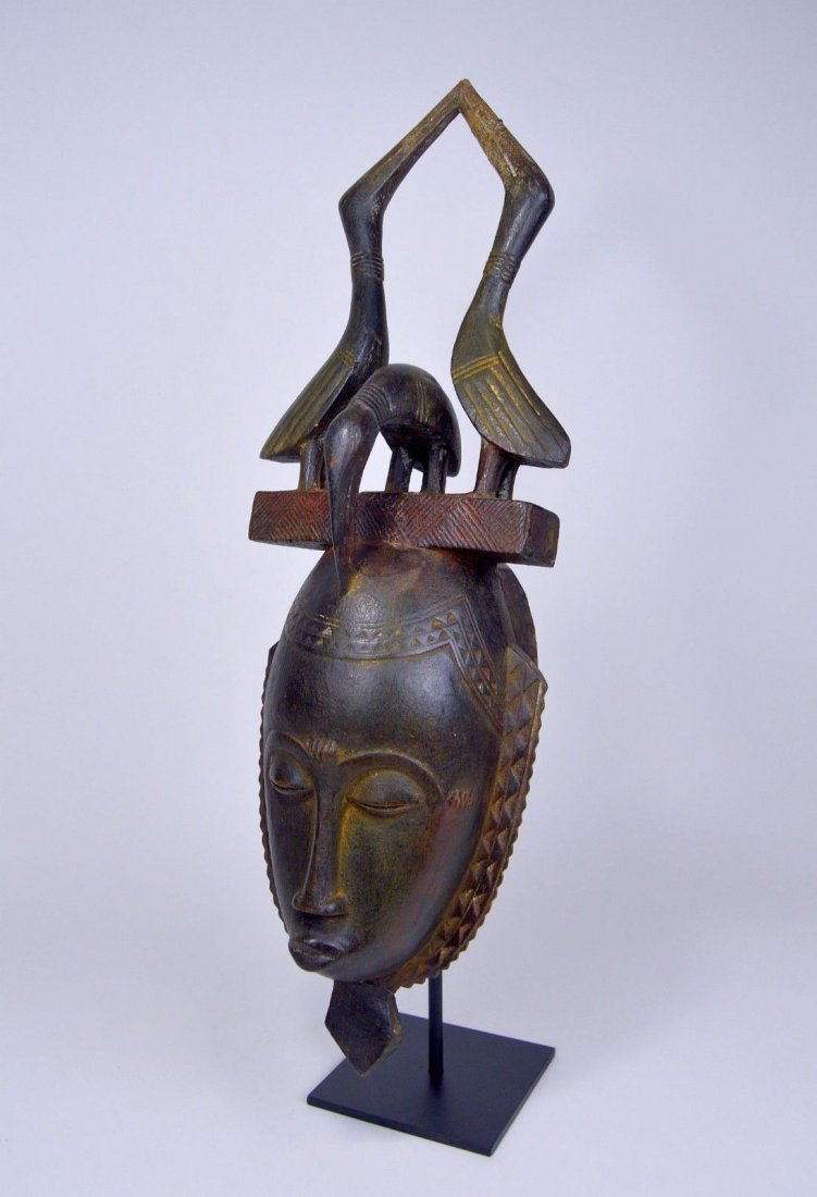 Lovely Baule African mask with Avian finial African Art - 4