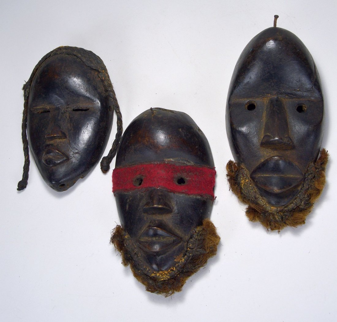 Lot of Three Dan Passport masks, African Art
