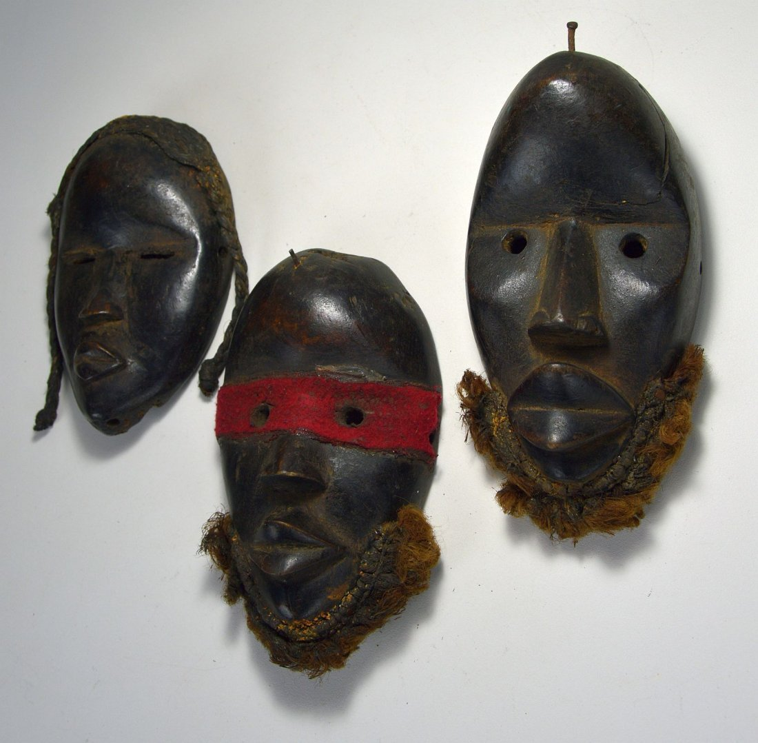 Lot of Three Dan Passport masks, African Art - 2