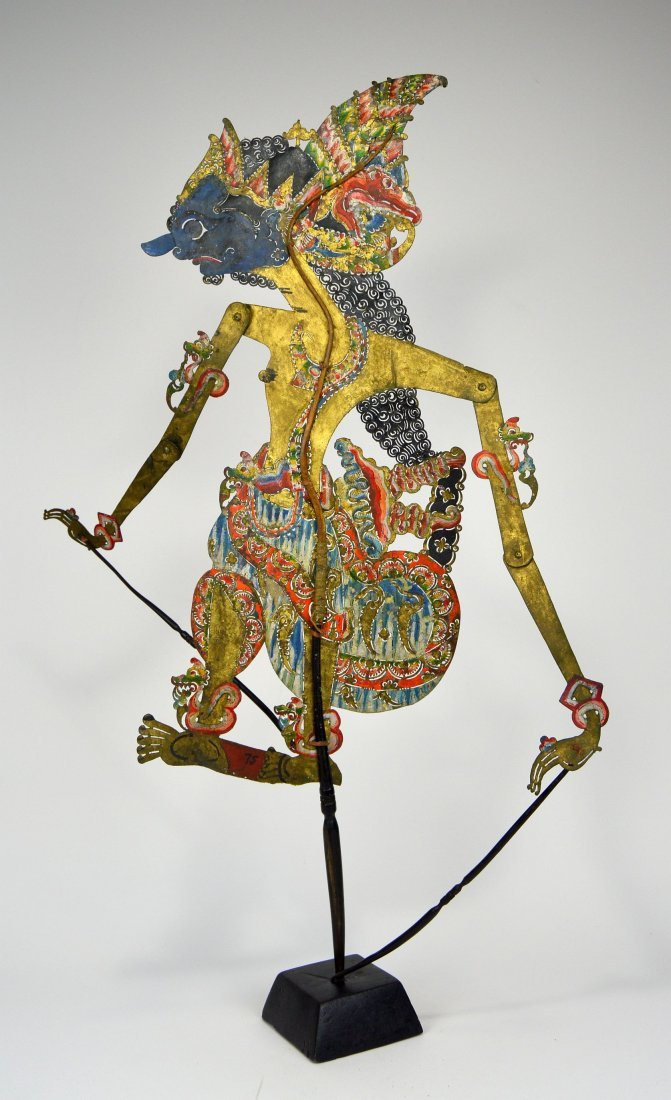 Blue faced Lord Krishna Antique Shadow Puppet from Java