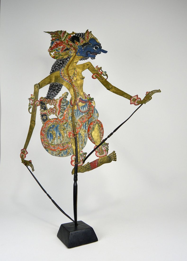Blue faced Lord Krishna Antique Shadow Puppet from Java - 3