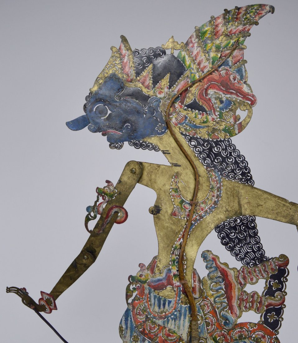Blue faced Lord Krishna Antique Shadow Puppet from Java - 4
