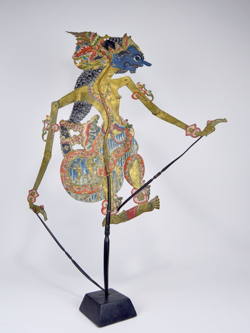 Blue faced Lord Krishna Antique Shadow Puppet from Java - 5
