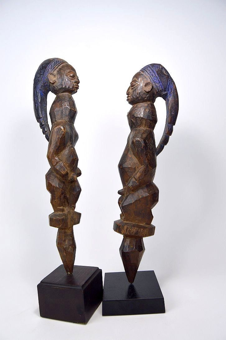 Rare Pair of Old Yoruba Eshu Parade wands, African Art