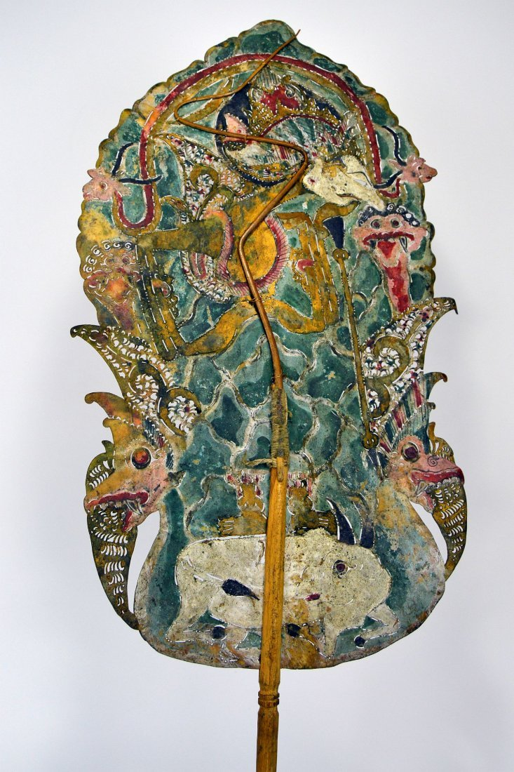 Antique Lord Shiva Wayang Kulit Shadow Puppet from Java