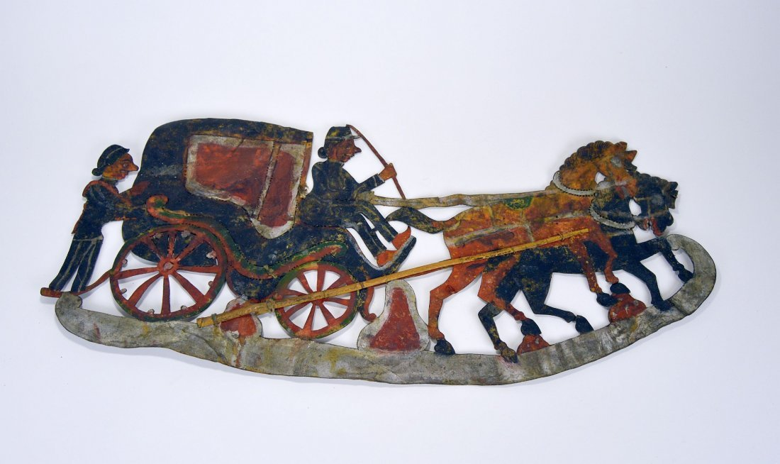 Rare Old Horse & Carriage Antique Wayang Kulit - 2