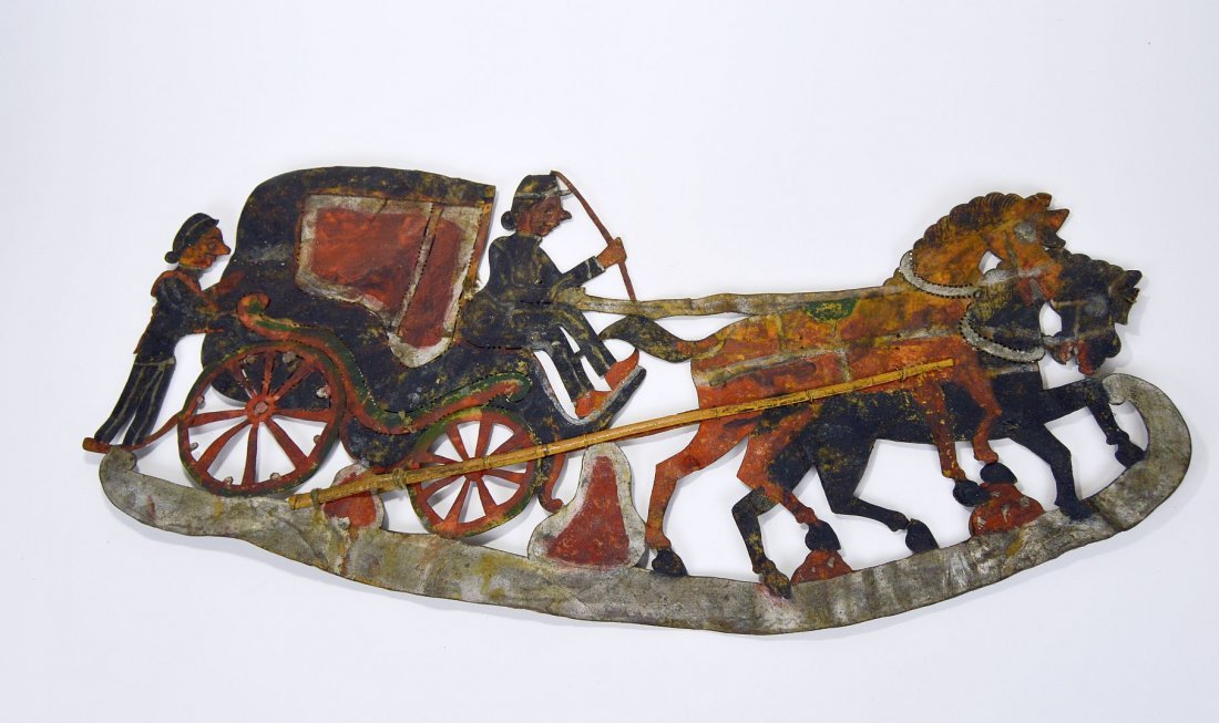Rare Old Horse & Carriage Antique Wayang Kulit - 3