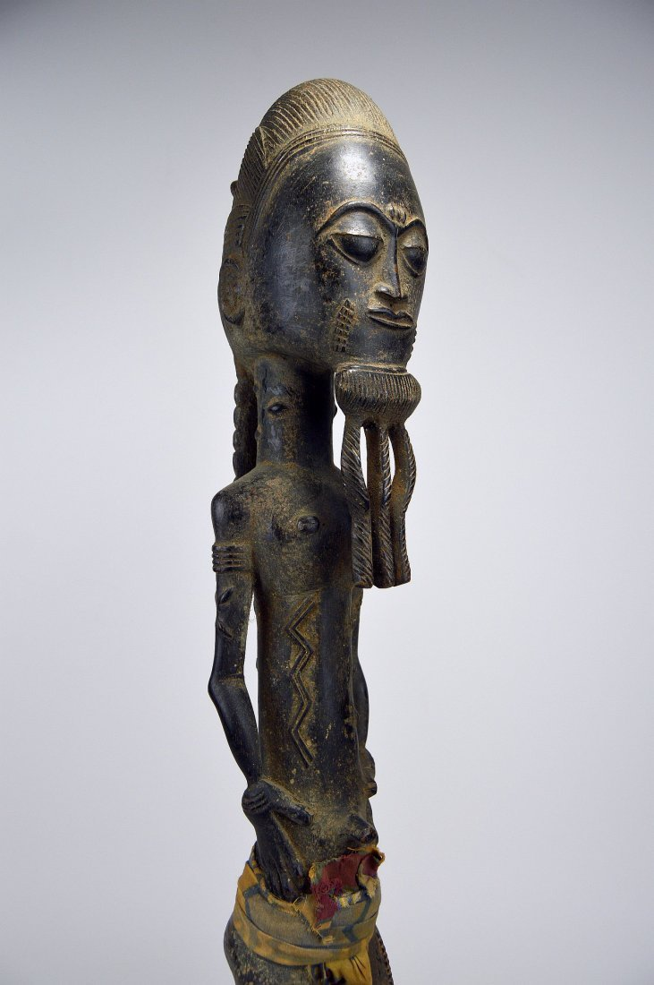 Tall ornately carved Baule Male sculpture - 6