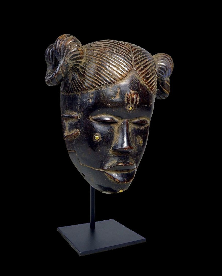 Vintage Ibibio Mask with elaborate coiffure