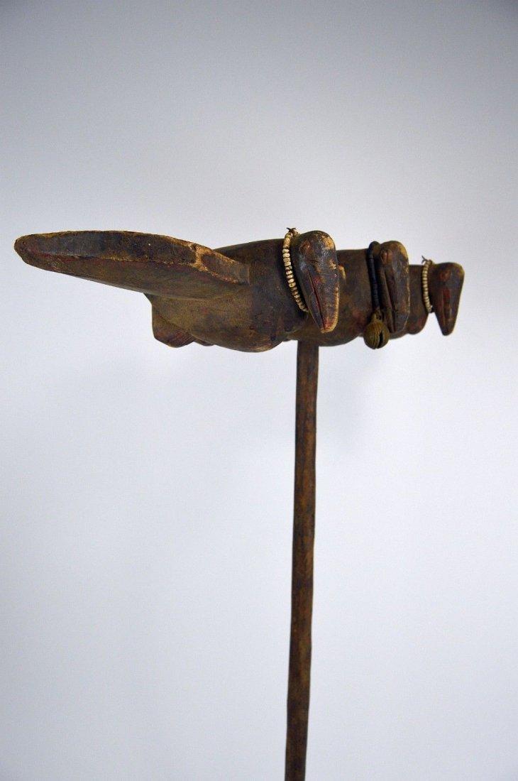 Rare Old Senufo Sejen Avian Staff African Art - 8