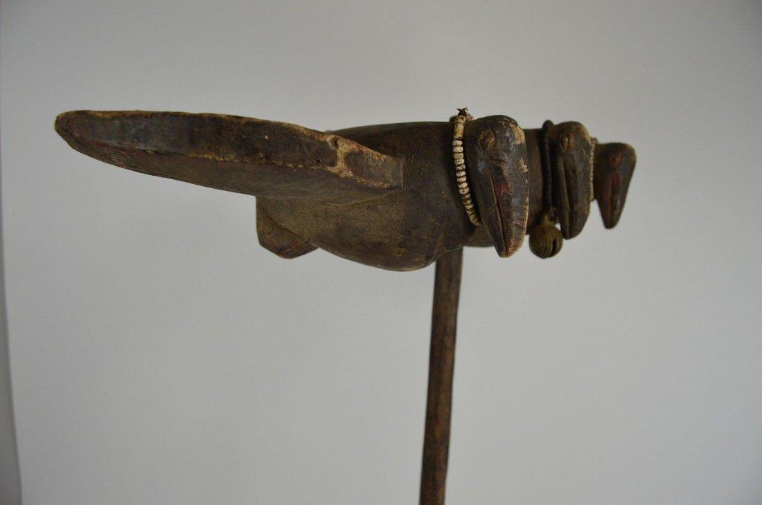 Rare Old Senufo Sejen Avian Staff African Art - 9
