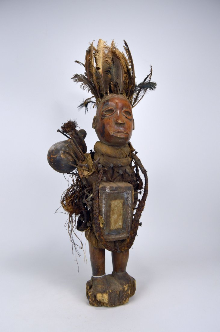 Tall Yombe Kongo Magic fetish with feather headdress