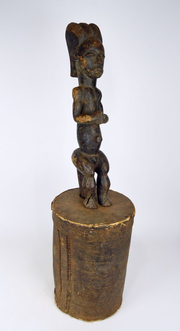 A Fang Byeri Cult figure on Bark Box, African Art
