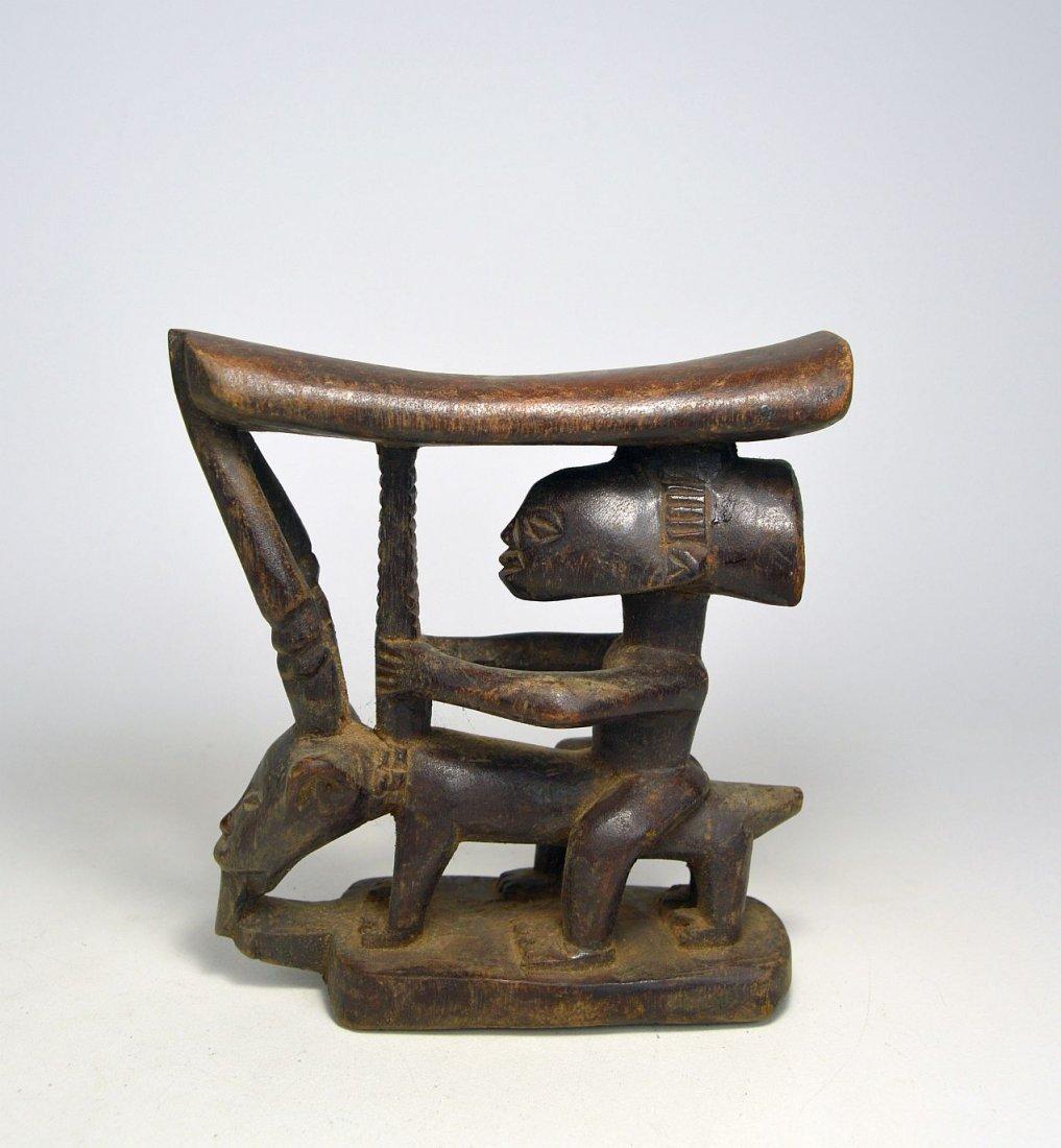Luba headrest featuring Ancestor & Antelope African Art - 3
