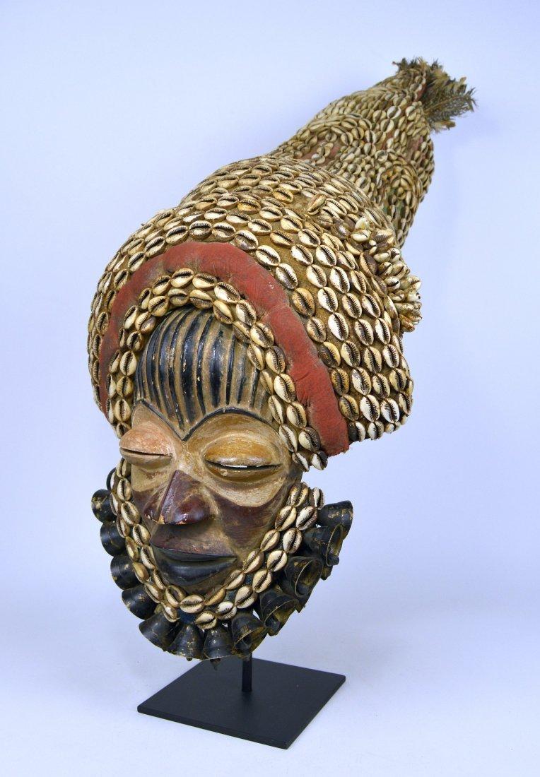 Elaborate Dan Dance mask w/ tall Cowrie shell headdress