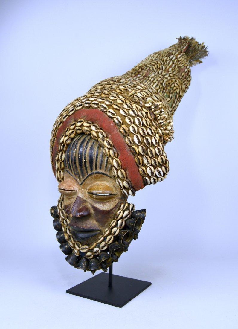 Elaborate Dan Dance mask w/ tall Cowrie shell headdress - 2