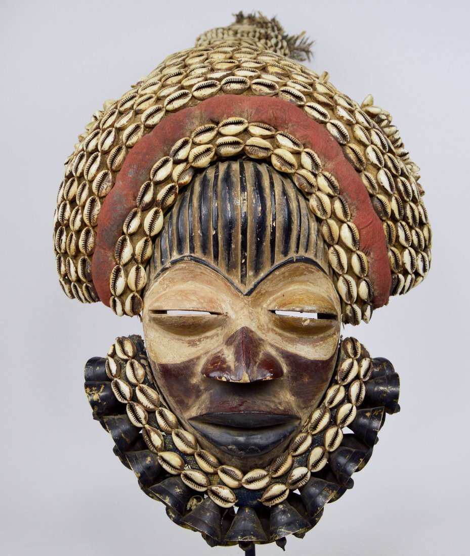 Elaborate Dan Dance mask w/ tall Cowrie shell headdress - 3