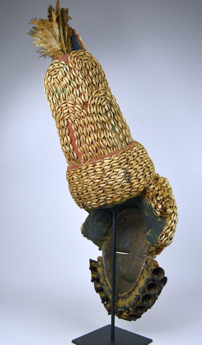 Elaborate Dan Dance mask w/ tall Cowrie shell headdress - 4