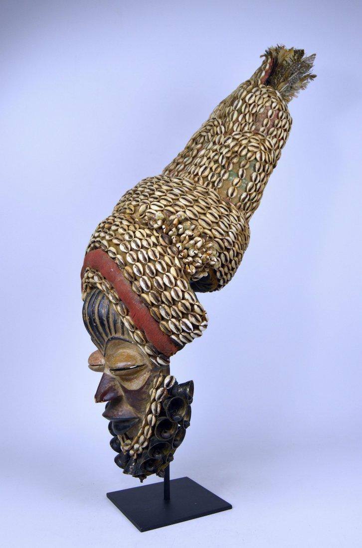 Elaborate Dan Dance mask w/ tall Cowrie shell headdress - 5