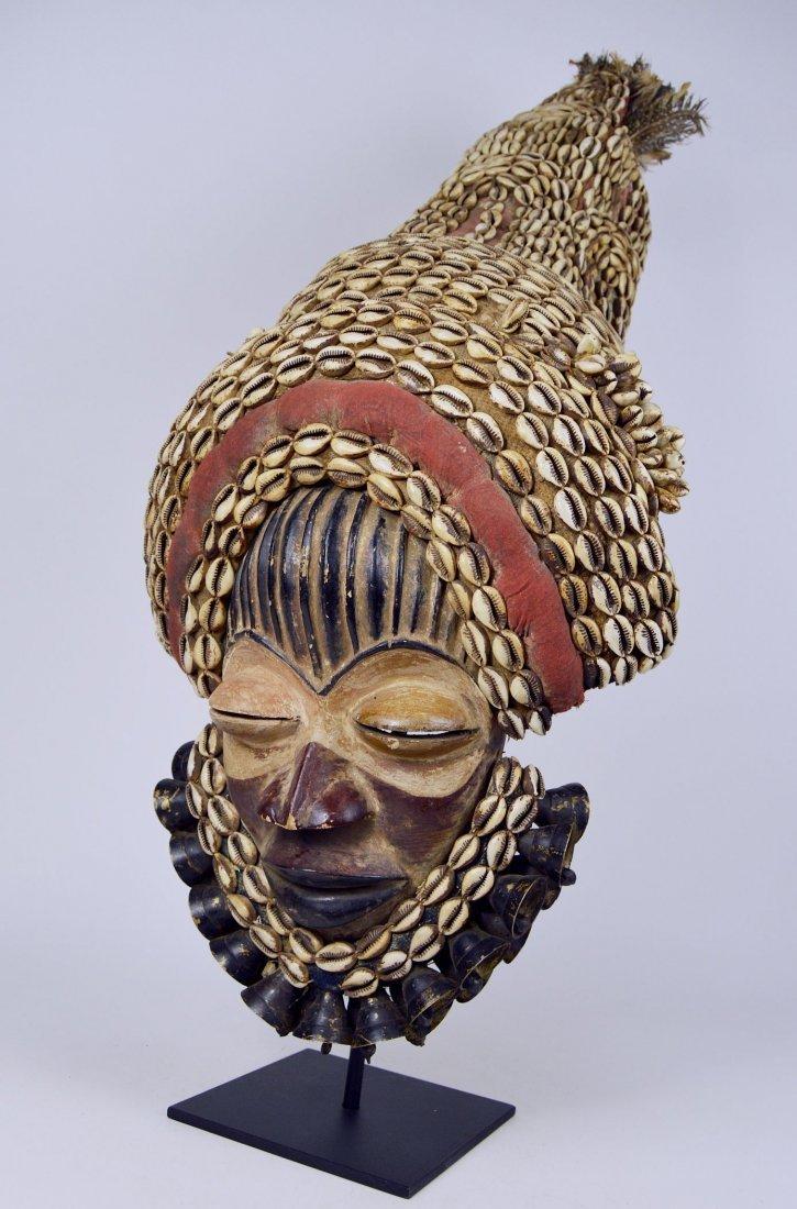 Elaborate Dan Dance mask w/ tall Cowrie shell headdress - 6