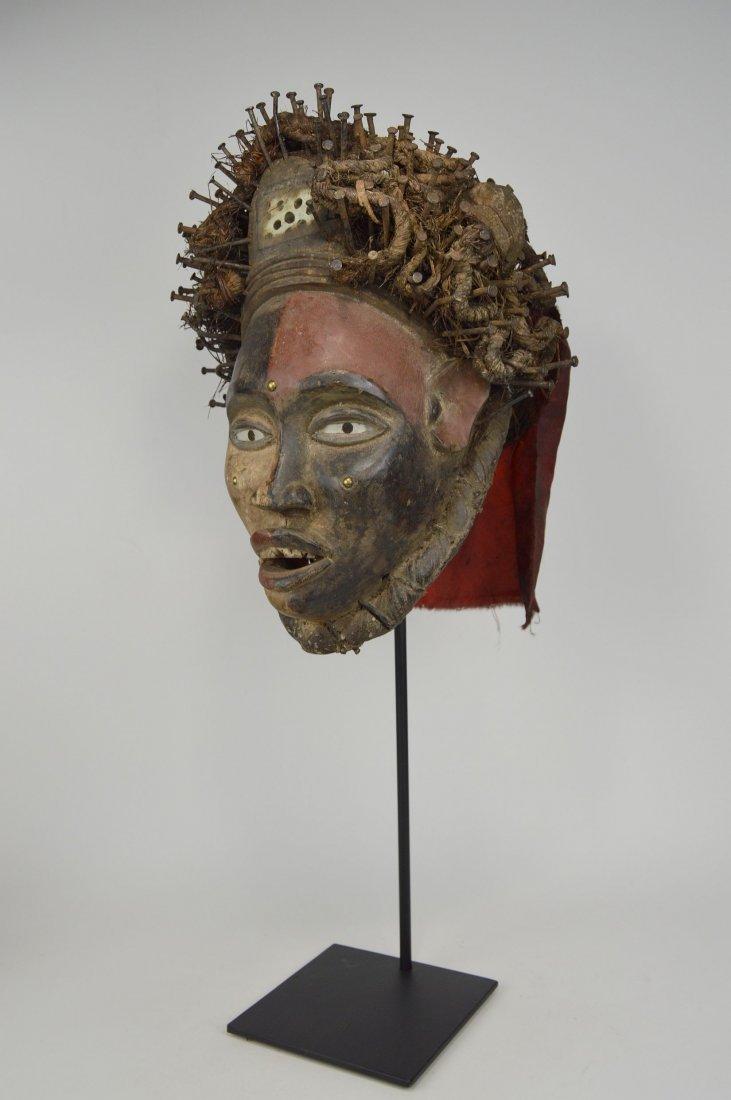 Fantastic Kongo Nail fetish African Mask w/ Glass Eyes