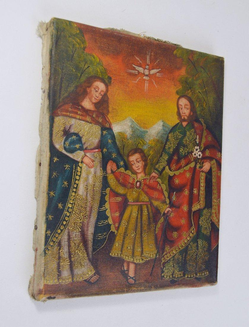 Holy Family Joseph, Mary and Jesus Icon Painting, Peru