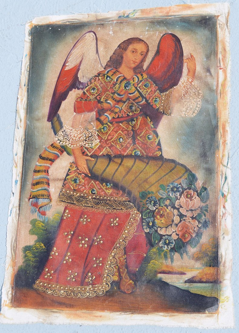 Angel Gabriel Religious Icon painting from Cusco, Peru