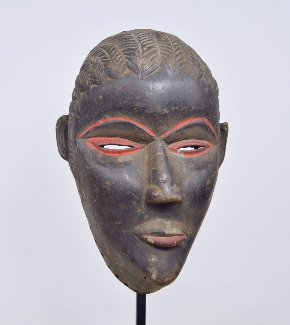 SERENE OLD DAN AFRICAN MASK WITH RED ACCENT - 6