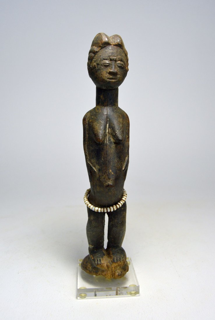MINIATURE BAULE FEMALE IDOL AFRICAN ART