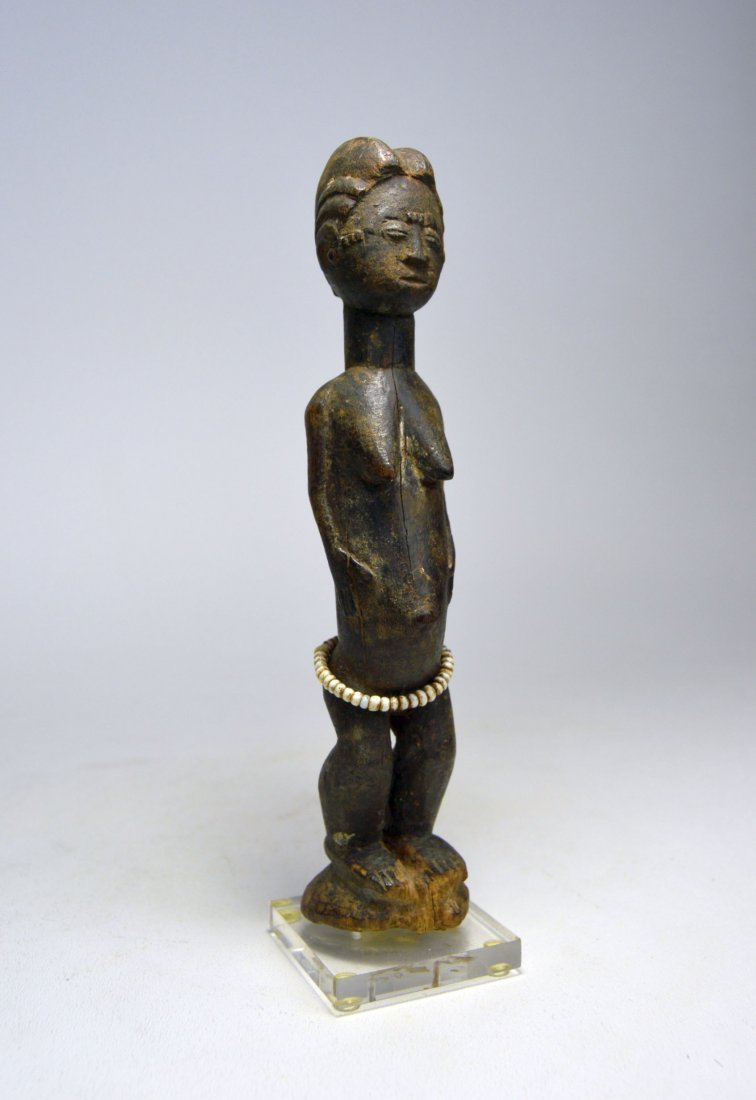 MINIATURE BAULE FEMALE IDOL AFRICAN ART - 2