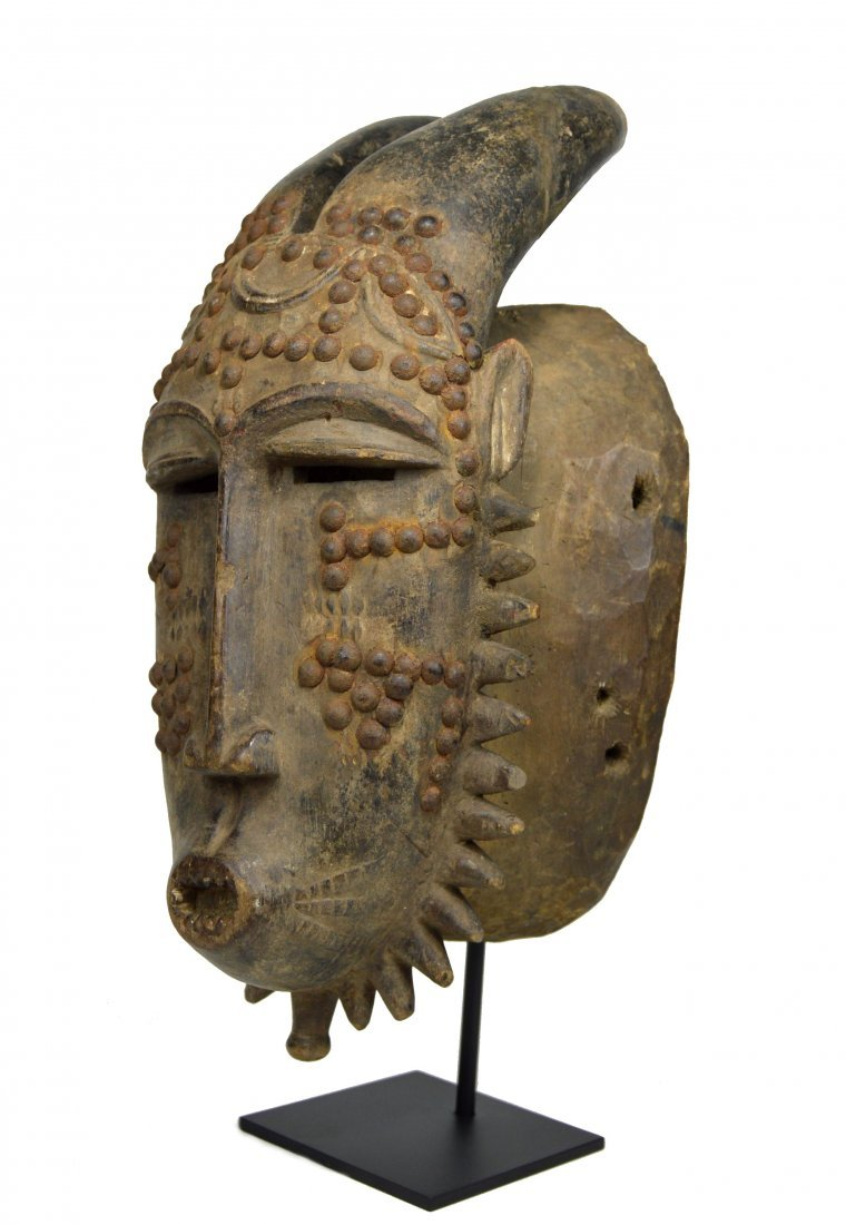 Baule Kwpan Pre African Dance mask with Horns