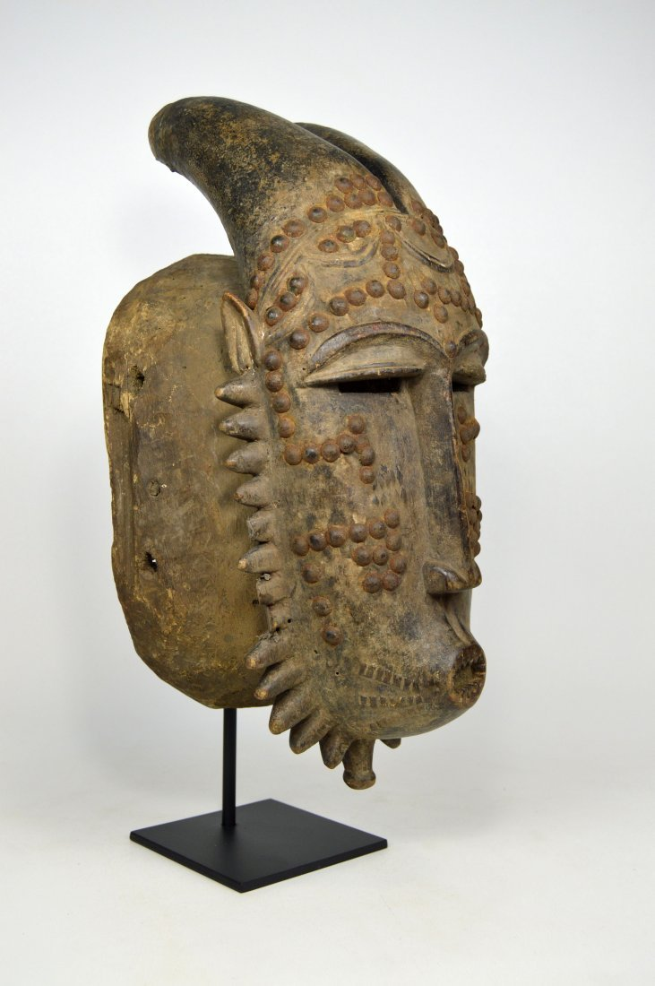 Baule Kwpan Pre African Dance mask with Horns - 2