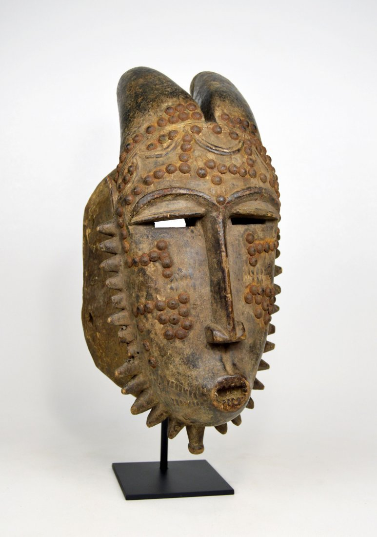 Baule Kwpan Pre African Dance mask with Horns - 3