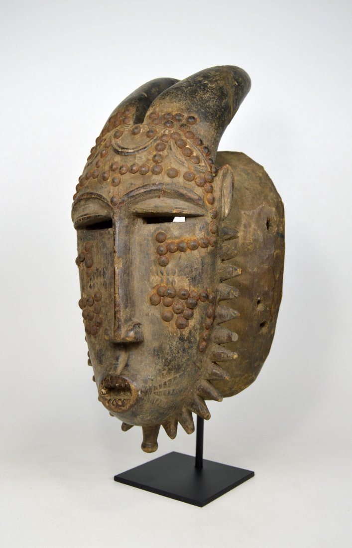 Baule Kwpan Pre African Dance mask with Horns - 5