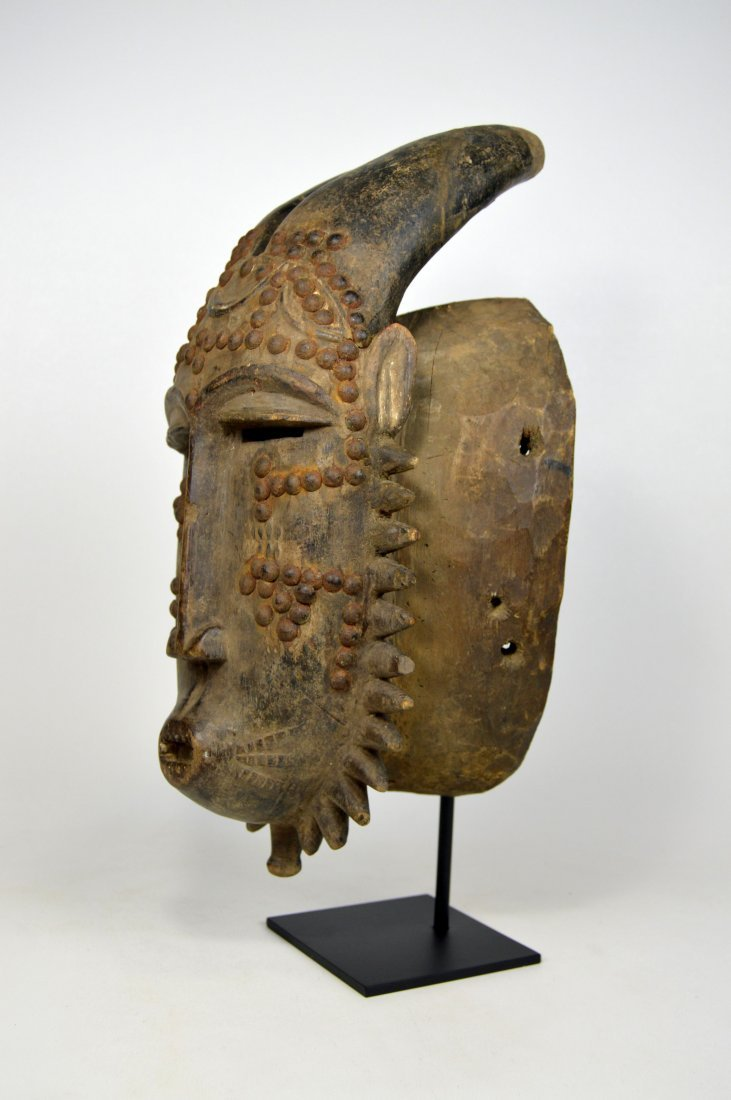 Baule Kwpan Pre African Dance mask with Horns - 6