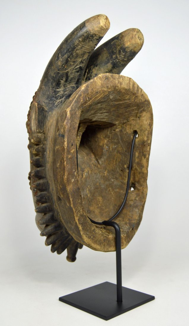 Baule Kwpan Pre African Dance mask with Horns - 9