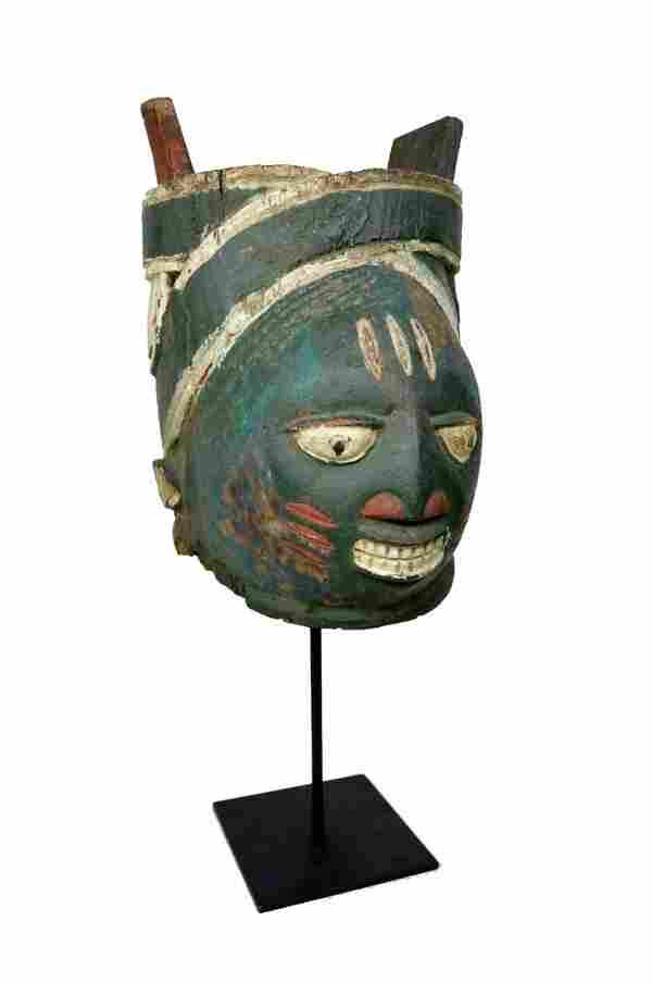 A Smiling Old Yoruba Gelede African Mask , African Art