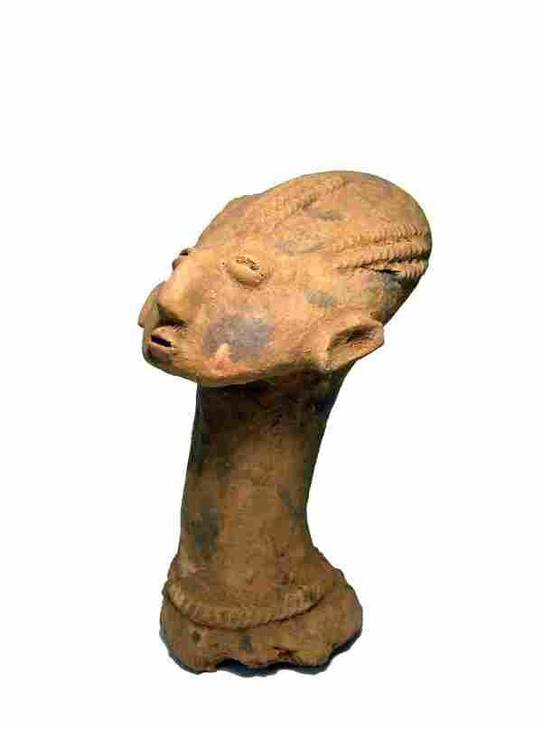Old Akan Ashanti Terracotta Memorial Head, African Art